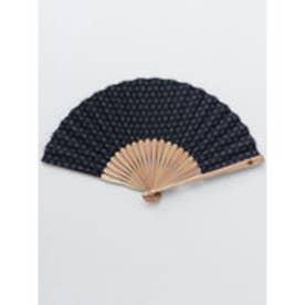 【カヤ】紳士用 藍色小紋扇子 袋付き その他1