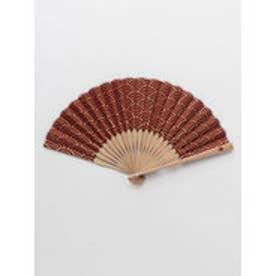 【カヤ】紳士用 金線青海波扇子 袋付き エンジ