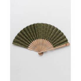 【カヤ】紳士用 金線青海波扇子 袋付き グリーン