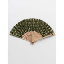 【カヤ】紳士用 金線麻の葉扇子 袋付き グリーン