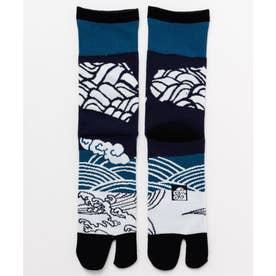 【カヤ】足袋型くつ下25-28cm 切り接ぎ ブラック×ブルー