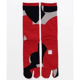 【カヤ】足袋型くつ下25-28cm 扇 ブラック×レッド