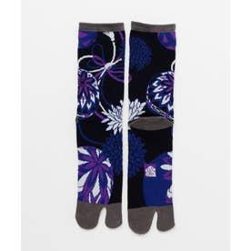 【カヤ】足袋型くつ下25-28cm 手鞠菊 ブラックミックス