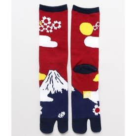 【カヤ】足袋型くつ下25-28cm 富士桜 レッド系その他