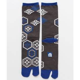 【カヤ】足袋型くつ下25-28cm 亀甲紋 ブルー