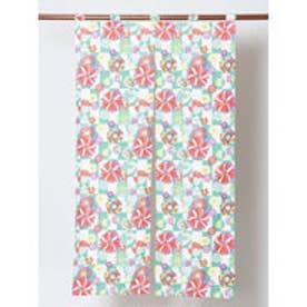 【カヤ】日本の花々暖簾 グリーン