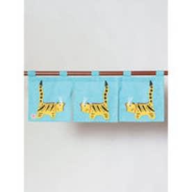 【カヤ】日本の民芸 短暖簾 ライトブルー