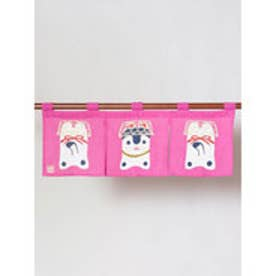 【カヤ】日本の民芸 短暖簾 ピンク