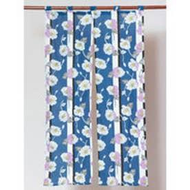 【カヤ】縞ポピー長暖簾 ブルー