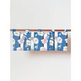 【カヤ】縞ポピー短暖簾 ブルー