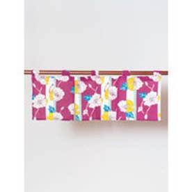 【カヤ】縞ポピー短暖簾 ピンク
