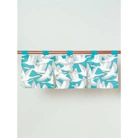 【カヤ】鶴の短暖簾 ブルー