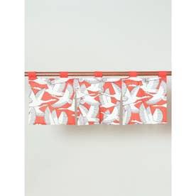 【カヤ】鶴の短暖簾 レッド