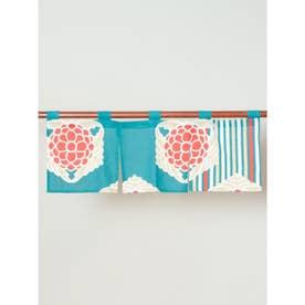 【カヤ】レトロモダン縦華 短暖簾 ブルー