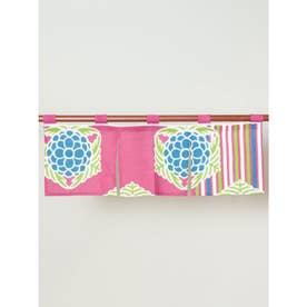 【カヤ】レトロモダン縦華 短暖簾 ピンク
