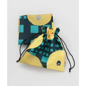 【カヤ】巾着袋付き 行楽風呂敷 グリーン