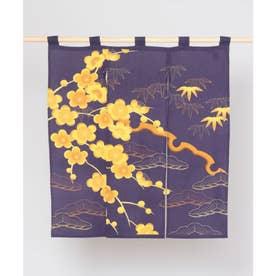 【カヤ】和の花 情景中暖簾 ネイビー