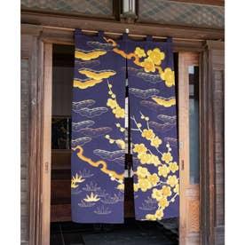 【カヤ】和の花 情景長暖簾 ネイビー