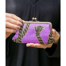 【カヤ】ーENBIー 艶美和紙がま口カードケース パープル
