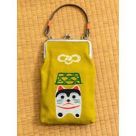 【カヤ】日本の民芸 お守り手付きがま口 マスタード