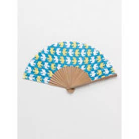 【カヤ】東欧風プリント竹扇子 袋付き ブルー