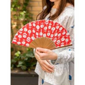 【カヤ】東欧風プリント竹扇子 袋付き レッド
