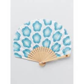 【カヤ】レトロ花扇子 袋付き ブルー