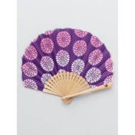 【カヤ】レトロ花扇子 袋付き パープル