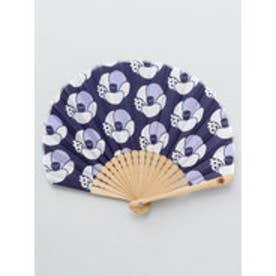 【カヤ】レトロ花扇子 袋付き ネイビー