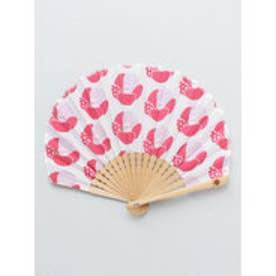 【カヤ】レトロ花扇子 袋付き ピンク