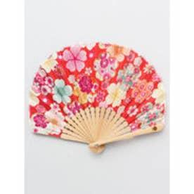 【カヤ】百花繚乱扇子 袋付き レッド