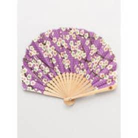 【カヤ】枝梅扇子 袋付き パープル