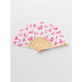 【カヤ】猫づくし扇子 袋付き ピンク