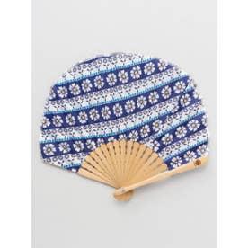 【カヤ】ポーラ扇子 袋付き ホワイト×ブルー
