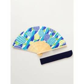 【カヤ】和の香り 丸菊紙扇子 袋付き ブルー
