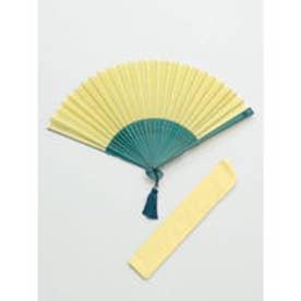 【カヤ】色合わせ扇子 袋付き イエロー×グリーン