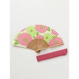 【カヤ】和の香り 菊紙扇子 袋付き ピンク