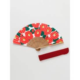 【カヤ】和の香り 椿紙扇子 袋付き レッド