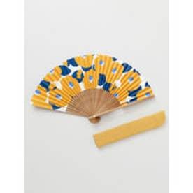 【カヤ】和の香り 椿紙扇子 袋付き オレンジ
