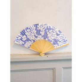 【カヤ】和の香り 藤の花紙扇子 袋付き パープル
