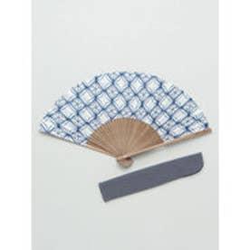 【カヤ】和の香り 菱文様紙扇子 袋付き ホワイト