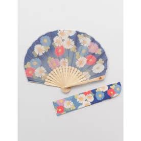 【カヤ】菊あつめ扇子 袋付き ブルー