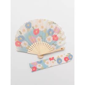 【カヤ】菊あつめ扇子 袋付き アクア