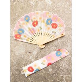【カヤ】菊あつめ扇子 袋付き ピンク