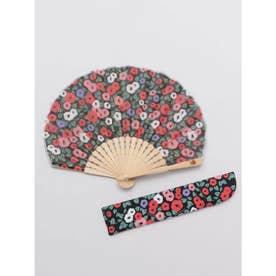 【カヤ】レトロ小椿扇子 袋付き ブラック