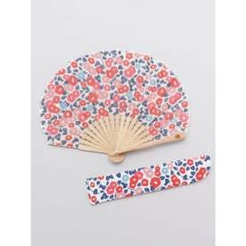 【カヤ】レトロ小椿扇子 袋付き ホワイト