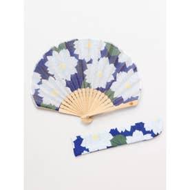 【カヤ】葉菊扇子 袋付き ブルー