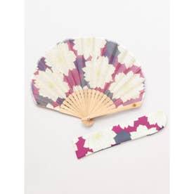 【カヤ】葉菊扇子 袋付き パープル
