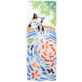 【カヤ】三毛猫と金魚手ぬぐい カラフル