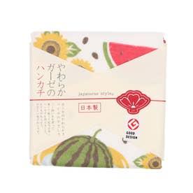 【カヤ】japanese style やわらかガーゼのハンカチ 夏すいか その他